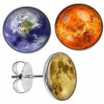 地球 太陽 満月 ステンレスピアス