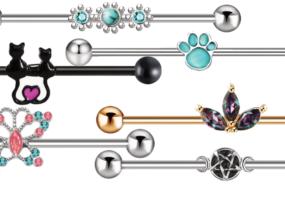 黒猫や肉球、星、月などインダストリアル用ボディピアス