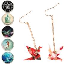 海の生き物と折り鶴の新作ピアス